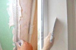 Шпатлевание откосов слоем до 2мм (в 2–3 слоя)