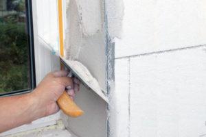 Оштукатуривание откосов слоем до 25 мм