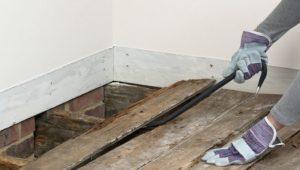 Демонтаж дощатого покрытия