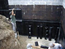 Устройство вертикальной наплавляемой гидроизоляции